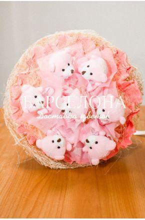 Букет из 7 мишек розовый