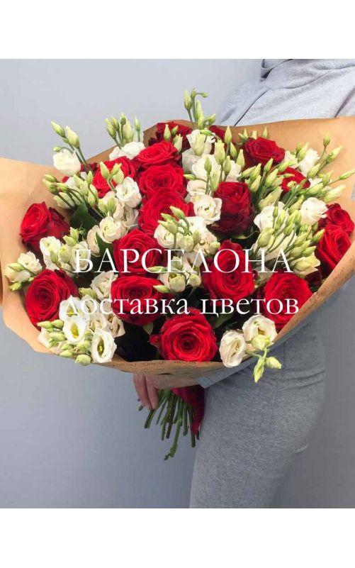 Букет из красных роз и Эустомы (крупный)