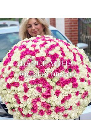 201 розовая и белая роза 60 см.