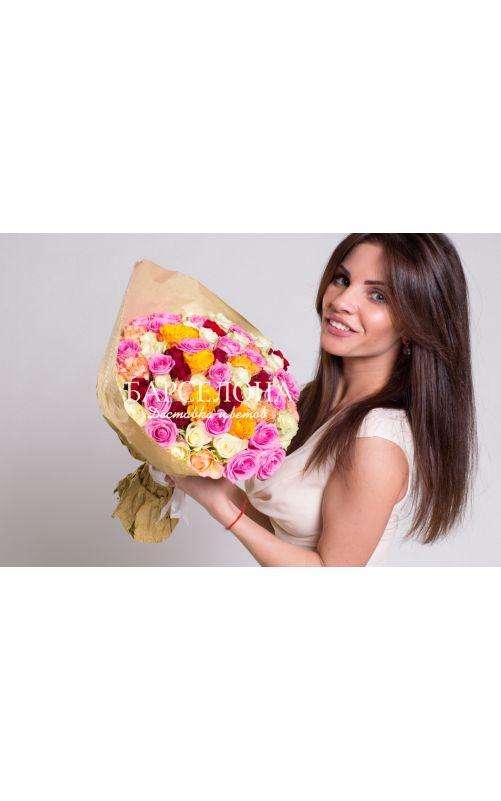 51 роза микс (Кения) 50см