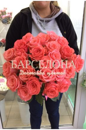 25 Розовых роз 50 см Amsterdam (Эквадор)