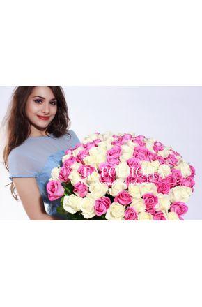 101 Белая и розовая роза 50 см.