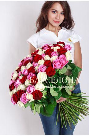 101 роза микс 50 см.