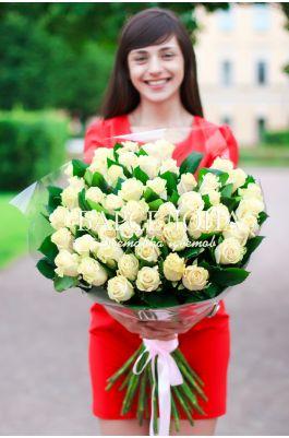 51 Кремовая роза 50 см.