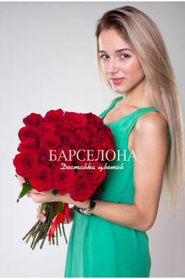 Букет из 15 красных роз 70 см.