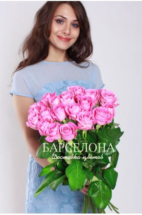 25 Розовых роз 50 см.