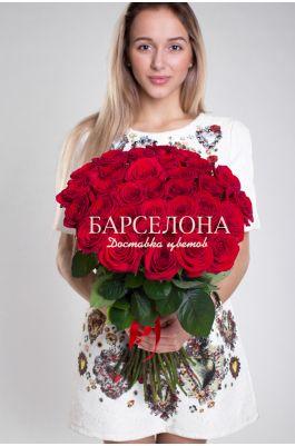 Букет из 31 красной розы 70 см.