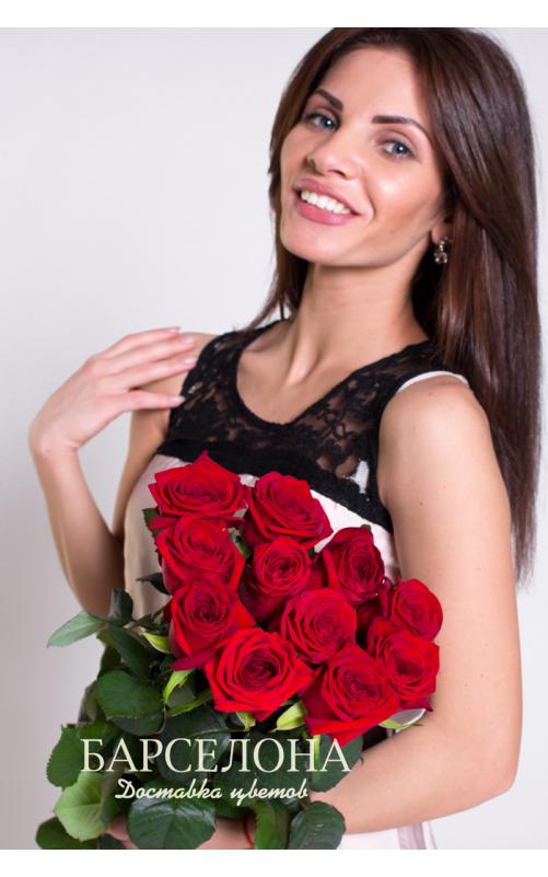 Букет из 11 красных роз 70 см.