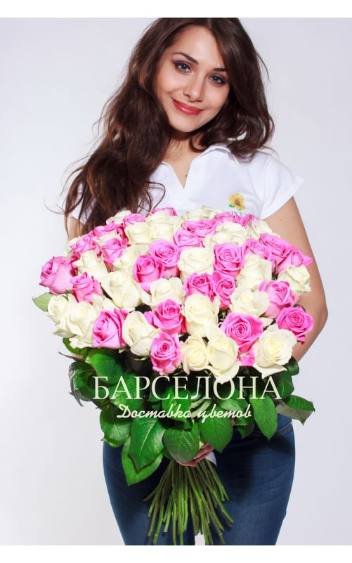51 Белая и розовая роза
