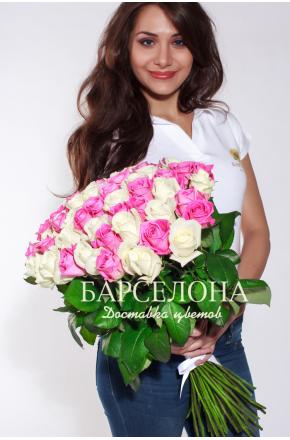 51 Белая и розовая  роза 50 см.