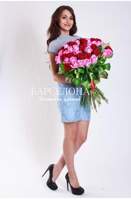 51 Красная  и розовая роза 50 см.