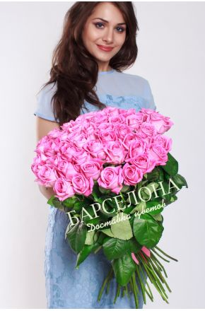 51 Розовая роза 50 см.