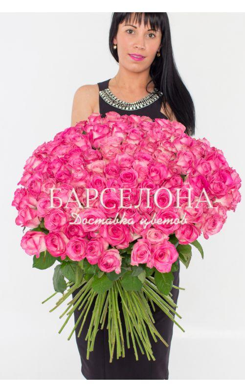 101 Розовая роза 50 см.