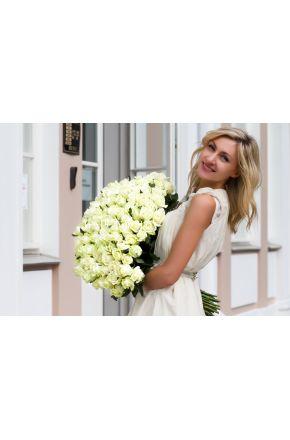 101 Белая роза 50 см.