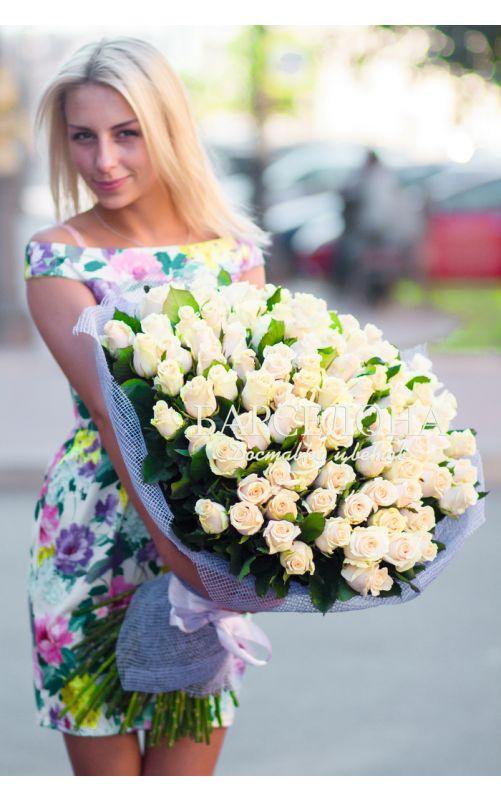 101 Кремовая роза 60 cм.