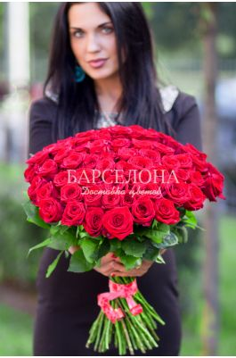 61 красная роза 60 см.