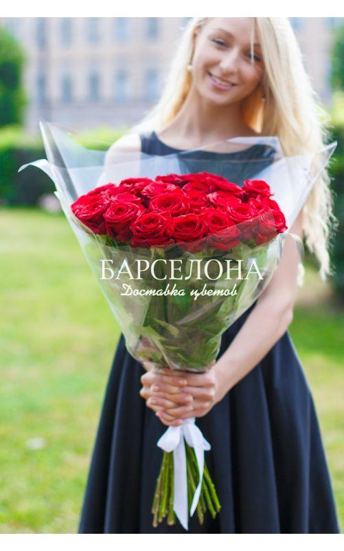 25 Красных роз 60 см.