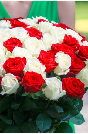 25 Красно-белых роз 60 см.