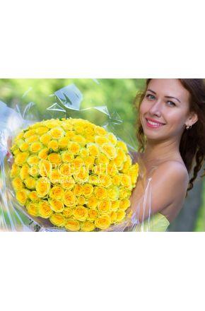 101 Желтая роза 60 см.