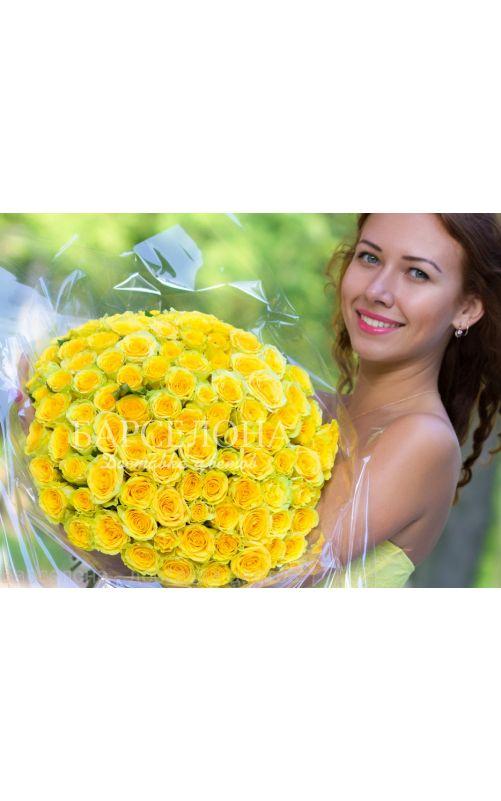 101 Желтая роза 60 cм.