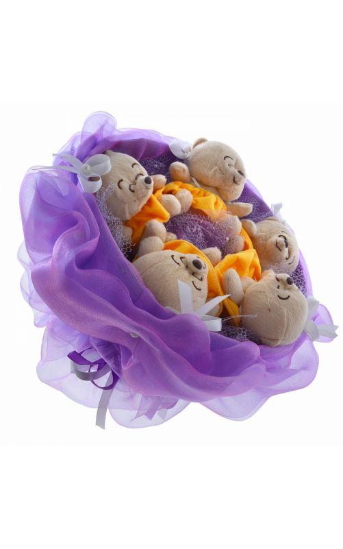 Букет из мишек фиолетовый