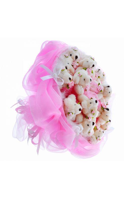 Плюшевый букет розовый