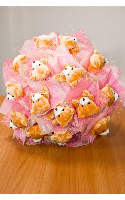 Букет из 15 мишек розовый