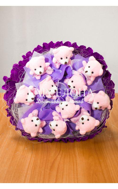 Букет из 11 мишек фиолетовый
