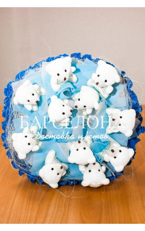 Букет из 11 мишек синий