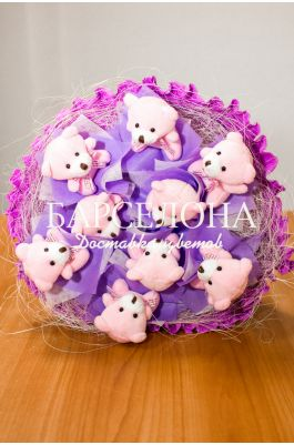 Букет из 9 мишек фиолетовый