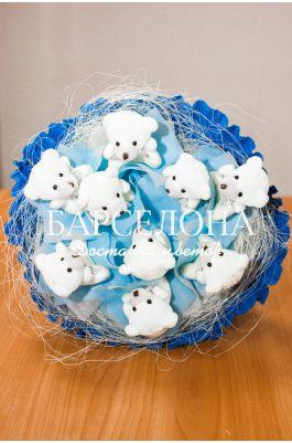Букет из 9 мишек синий
