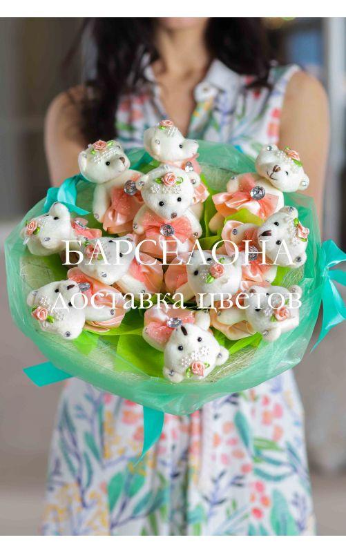 Букет из 11 плюшевых мишек зеленый