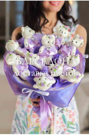 Букет из 11 плюшевых мишек фиолетовый