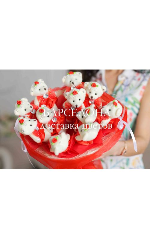 Букет из 11 плюшевых мишек красный