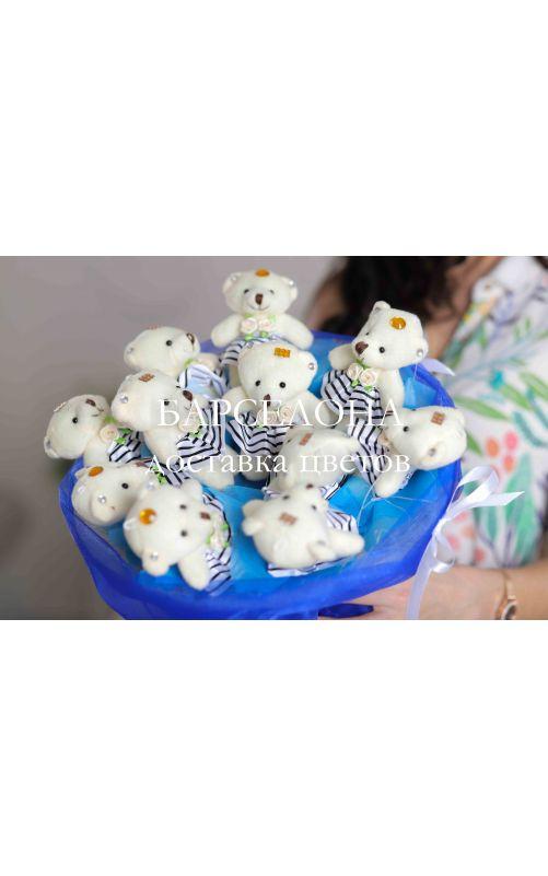 Букет из 11 плюшевых мишек синий