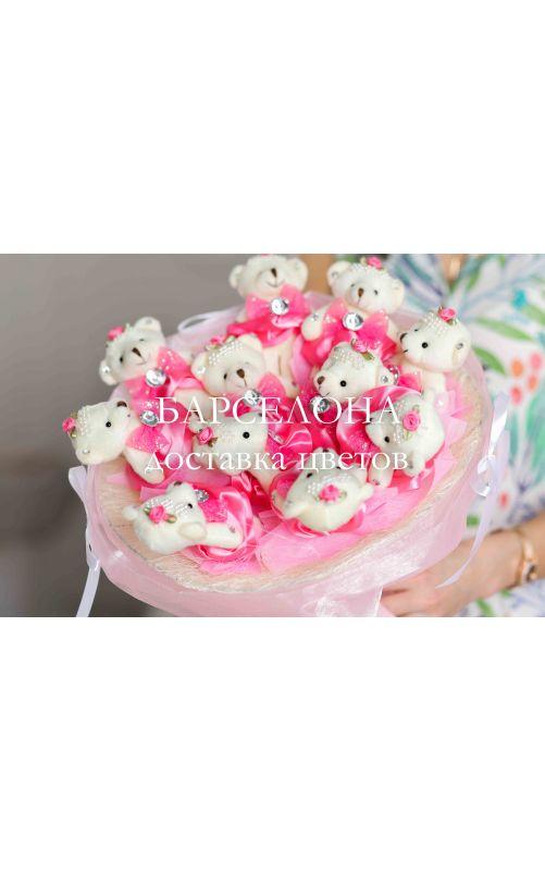 Букет из 11 плюшевых мишек розовый