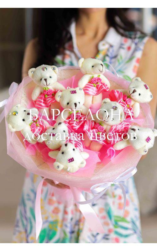 Букет из 9 плюшевых мишек розовый