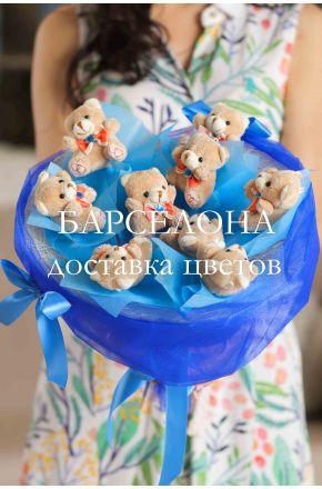 Букет из 9 плюшевых мишек синий
