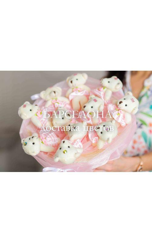 Букет из 11 мишек в полосатых юбочках розовый