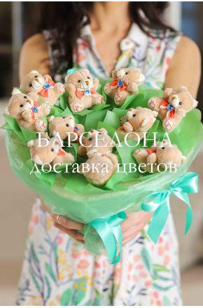 Букет из 11 плюшевых мишек мальчиков зеленый