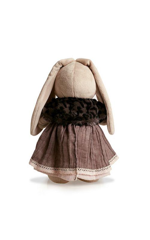 Зайка Ми в тигровой шубке и сером платье 25 см.