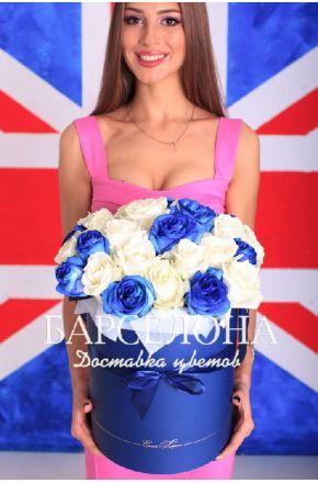 29 белых и синих роз в шляпной коробке