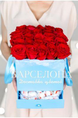 25 красных роз и раффаелло в бирюзовой коробке