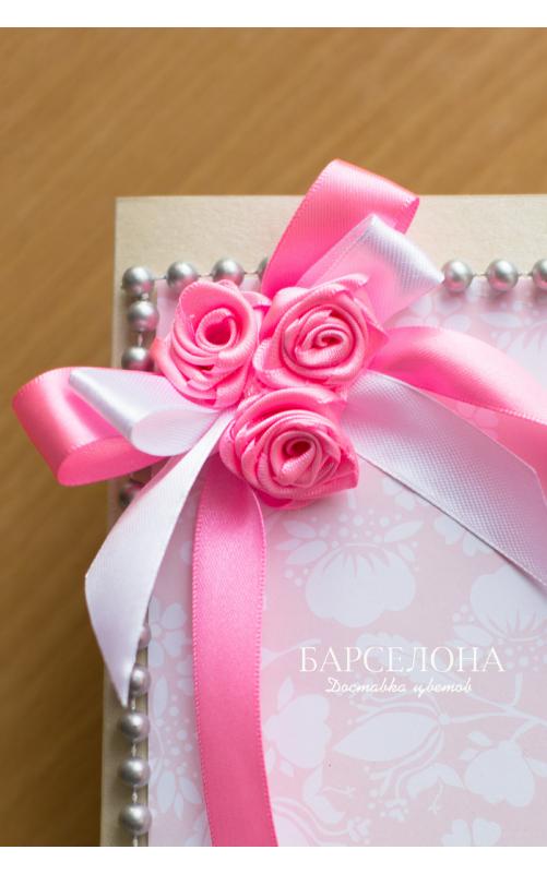 Открытка ручной работы розовая