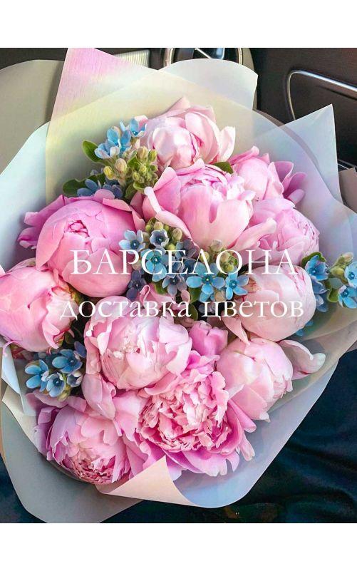 Букет из 11 розовых пионов и Твидии