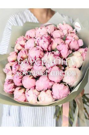 Букет из 33 розовых пионов Сара Бернар