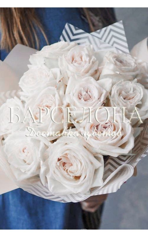 Букет из 11 пионовидных роз Вайт О'Хара