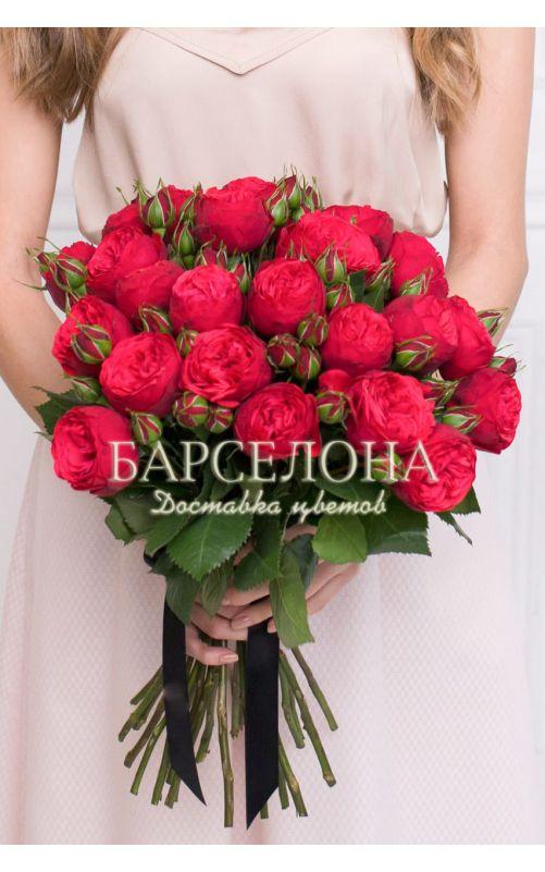 Букет из 15 пионовидных роз Ред Пиано