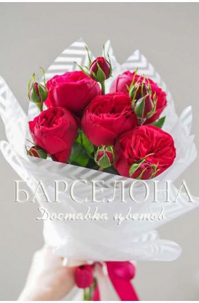 Букет из 5 пионовидных роз Red Piano