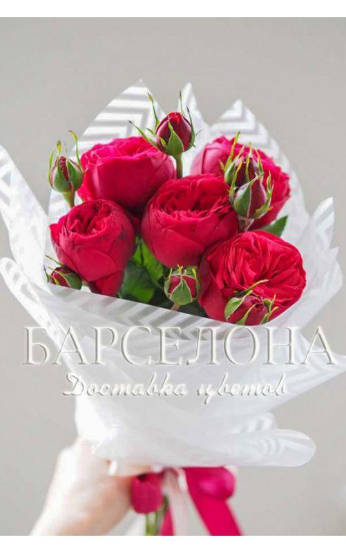 Букет из 5 пионовидных роз Ред Пиано